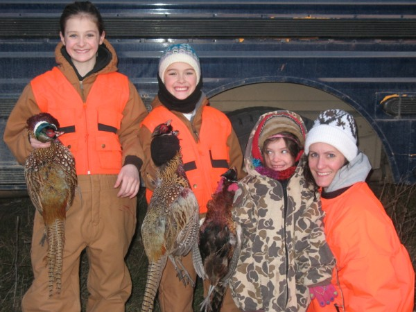 Darin's wife and daughters on Thanksgiving Day hunt on the Ranch.